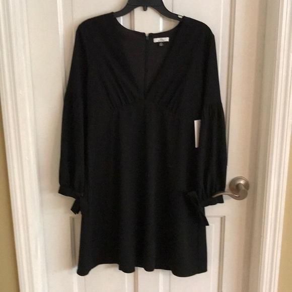 Black Long Sleeve Short Dress